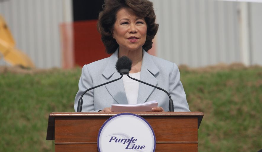 U.S. Transportation Secretary Elaine Chao commends the use of a public-private partnership to build a 16-mile light rail project called the Purple Line during a groundbreaking ceremony on Monday, Aug. 28, 2017 in Hyattsville, Md. Chao said the department is focused on making it easier for states to use public-private partnerships to build expensive infrastructure projects.  (AP Photo/Brian Witte)