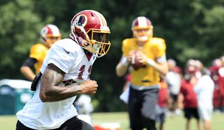 Washington Redskins wide receiver Terrelle Pryor Sr. (11) runs on the field during practice at the team's NFL football training facility at Redskins Park in Ashburn, Va., Wednesday, Aug. 23, 2017. (AP Photo/Manuel Balce Ceneta)