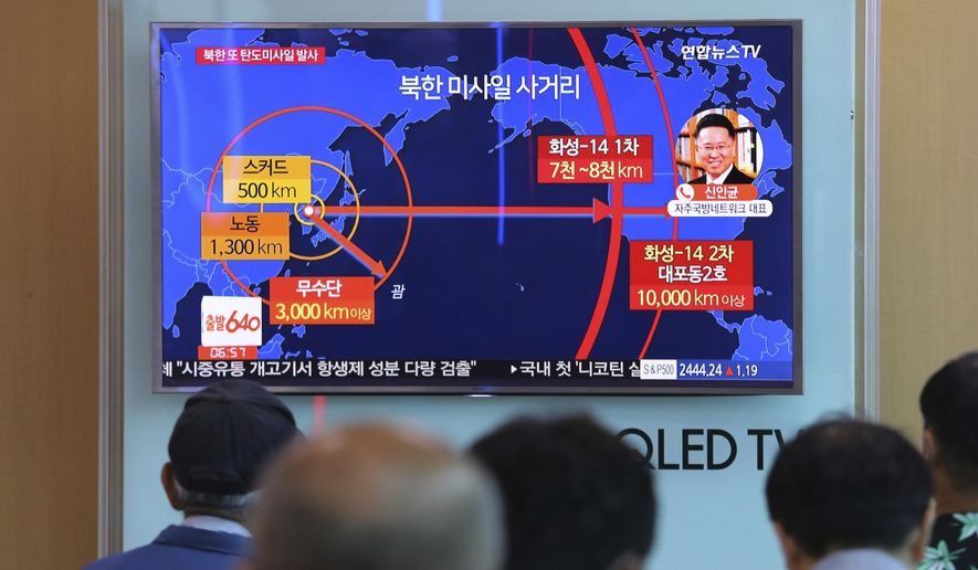 "People watch a TV news program reporting a North Korea's missile launch, at the Seoul Railway Station in Seoul, South Korea, Tuesday, Aug. 29, 2017. North Korea fired a ballistic missile from its capital Pyongyang that flew over Japan before plunging into the northern Pacific Ocean, officials said Tuesday, an especially aggressive test-flight that will rattle an already anxious region. The signs at left top read "" North Korea fired a ballistic missile."" (AP Photo/Ahn Young-joon)"
