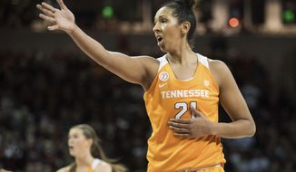 FILE - In this Jan. 30, 2017, file photo, Tennessee center Mercedes Russell (21) reacts to an official's call during the second half of an NCAA college basketball game against South Carolina, in Columbia, S.C. When Russell announced she would return for her final season of eligibility rather than entering the WNBA draft, it appeared she'd be part of a veteran squad. Much has changed since. (AP Photo/Sean Rayford, FIle)