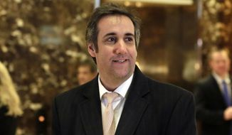 In this Dec. 16, 2016, file photo, Michael Cohen, an attorney for Donald Trump, arrives in Trump Tower in New York. (AP Photo/Richard Drew, File)