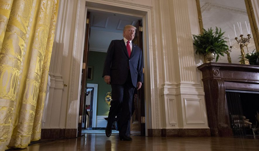 President Donald Trump arrives in the East Room of the White House in Washington, Monday, Aug. 28, 2017, for a news conference with Finnish President Sauli Niinisto.  (AP Photo/Carolyn Kaster)