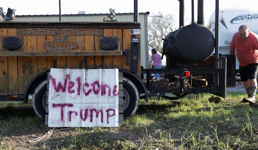 William Loosemore welcomes President Trump, who visited Texas on Tuesday to assess damage from Hurricane Harvey and boost the morale of survivors. (Associated Press)