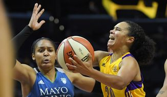 FILE - This Oct. 16, 2016, file photo shows Los Angeles Sparks guard Kristi Toliver, right, shooting as Minnesota Lynx forward Maya Moore defends during the second half in Game 4 of the WNBA Finals in Los Angeles.  As the WNBA enters the final week of the regular season, there are a few playoff spots still up for grabs and the postseason seeding is still jumbled. Los Angeles and Minnesota have clinched the top two seeds. The Sparks though only sit a half-game behind the Lynx for home court advantage throughout the postseason and have the tiebreaker. The Sparks also were a unanimous choice atop The Associated Press WNBA power poll on Tuesday, Aug. 29, 2017.  (AP Photo/Mark J. Terrill, File) **FILE**