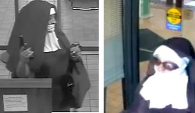 The FBI is on the hunt for two women who dressed as nuns before robbing a bank in Tannersville, Pennsylvania, on Aug. 28, 2017. (Twitter, FBI Philadelphia)