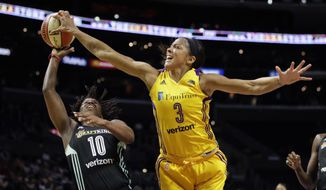 FILE - In this Friday, Aug. 4, 2017 file photo, Los Angeles Sparks' Candace Parker, right, blocks a shot by New York Liberty's Epiphanny Prince during the second half of a WNBA basketball game in Los Angeles. As the WNBA enters the final week of the regular season, there are a few playoff spots still up for grabs and the postseason seeding is still jumbled. Los Angeles and Minnesota have clinched the top two seeds. The Sparks though only sit a half-game behind the Lynx for home court advantage throughout the postseason and have the tiebreaker. The Sparks also were a unanimous choice atop The Associated Press WNBA power poll on Tuesday, Aug. 29, 2017. (AP Photo/Jae C. Hong, File)