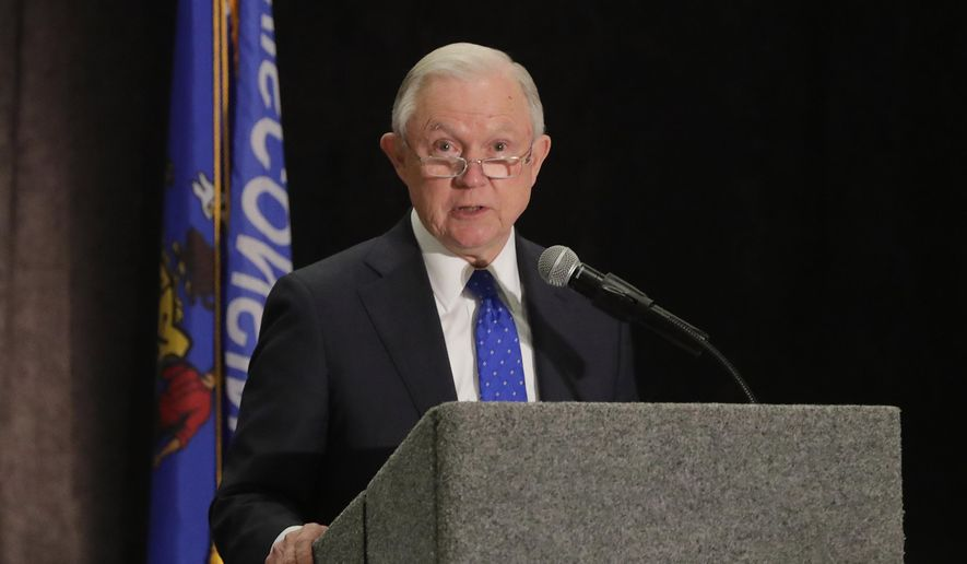 Attorney General Jeff Sessions speaks at the annual conference of the National Alliance for Drug Endangered Children at the KI Convention Center on Tuesday, Aug. 29, 2017 in Green Bay, Wis.   (Adam Wesley/The Post-Crescent via AP)