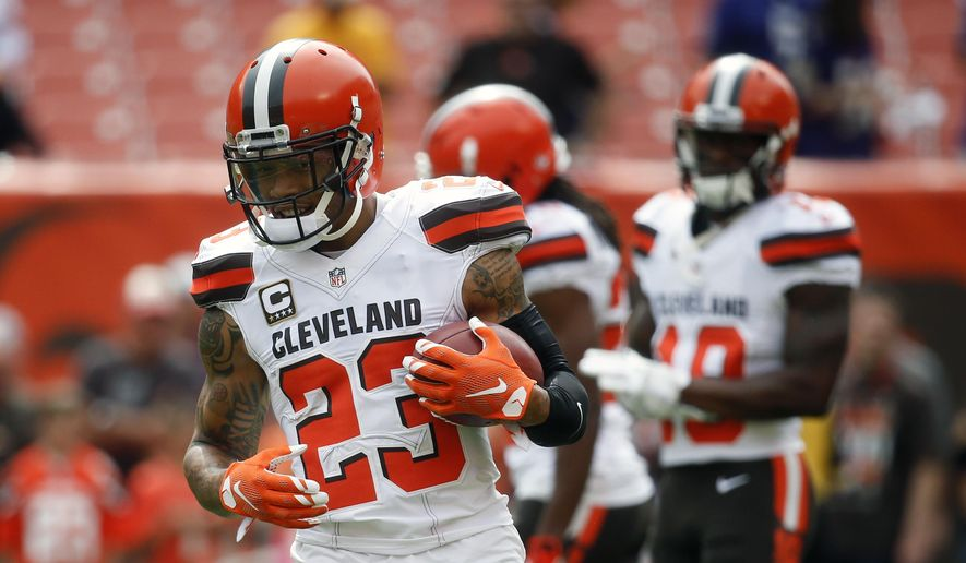 FILE - In this Sunday, Sept. 18, 2016 file photo, Cleveland Browns cornerback Joe Haden practices before an NFL football game against the Baltimore Ravens in Cleveland. Coach Hue Jackson isn't denying a report that the Cleveland Browns are attempting to trade cornerback Joe Haden. Jackson says he wants the two-time Pro Bowler on his defense, but he deferred to Sashi Brown, the team's top front-office executive, to make decisions that help the Browns, Tuesday, Aug. 29, 2017. (AP Photo/Ron Schwane, File) **FILE**
