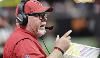 Arizona Cardinals head coach Bruce Arians works against the Atlanta Falcons during the first half of an NFL football game, Saturday, Aug. 26, 2017, in Atlanta. (AP Photo/David Goldman)