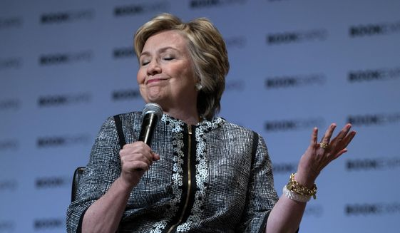 Former Secretary of State Hillary Clinton speaks during the Book Expo event in New York on June 1, 2017. (Associated Press) **FILE**