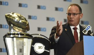 FILE - In this July 24, 2017, file photo, Indiana NCAA college football head coach Tom Allen speaks at Big Ten Media Day in Chicago. Allen spent a quarter-century working his weaving up the coaching ranks. Like his father, he started his career on the high school level. Now, after that long journey, Allen finally has his dream title: Head coach at Indiana. (AP Photo/G-Jun Yam, File)