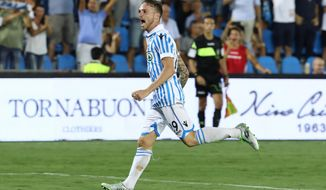 Spal's Manuel Lazzari celebrates after scoring during a Serie A soccer match between Spal and Udinese, at the Paolo Mazza Stadium in Ferrara, Italy, Sunday, Aug. 27, 2017. (Serena Campanini/ANSA via AP)