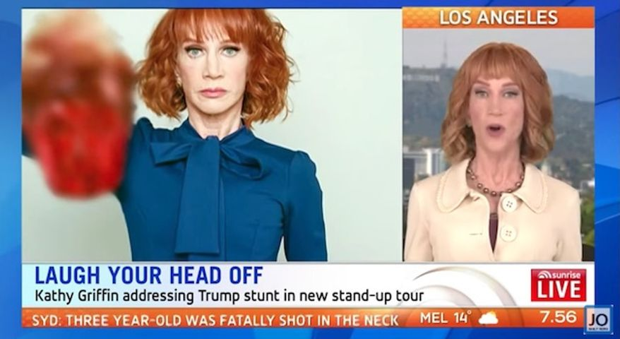 """Comedian Kathy Griffin says she's """"no longer sorry"""" for the President Trump beheading stunt that jeopardized her career. (Sunrise Live)"""