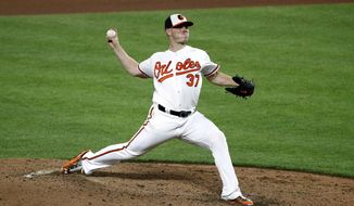 Baltimore Orioles starting pitcher Dylan Bundy throws to the Seattle Mariners during the seventh inning of a baseball game in Baltimore, Tuesday, Aug. 29, 2017. (AP Photo/Patrick Semansky)