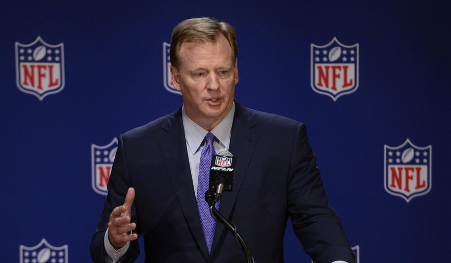 "In this May 23, 2017, file photo, NFL Commissioner Roger Goodell speaks to the media after an NFL owners meeting in Chicago. A year after the NFL launched the ""Play Smart. Play Safe"" initiative, pledging $100 million in support of independent medical research and engineering advancements, a huge chunk of that soon will be awarded to such research, primarily dedicated to neuroscience. (AP Photo/Paul Beaty, File)"