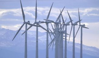 According to the American Wind Energy Association, 95 percent of the wind power capacity installed in the U.S. in 2016 used a turbine manufacturer with facilities in the U.S. The organization also says that American manufacturing facilities have the capacity to produce 3,150 wind towers and 11,000 wind tower blades each year. (Associated Press/File)