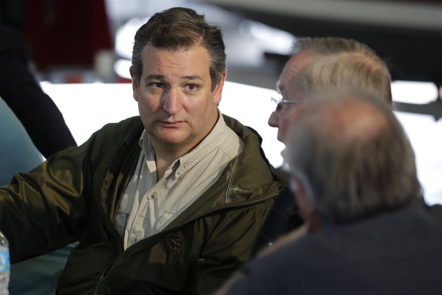 Sen. Ted Cruz, R-Texas in Corpus Christi, Texas, Tuesday, Aug. 29, 2017.  The Republicans of New York and New Jersey are pledging unconditional support for those devastated by Hurricane Harvey in Texas. But their resentment lingers. As historic floods wreaked havoc across the Southwest on Tuesday, Northeastern Republicans recalled with painful detail the days after Superstorm Sandy ravaged their region in 2012. At the time, the Texas congressional delegation, led by Cruz, overwhelmingly opposed a disaster relief package they said was packed with wasteful spending. (AP Photo/Evan Vucci)