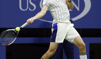 Alexander Zverev of Germany returns in the second set of his opening round match against Darian King of Barbados at the U.S. Open tennis tournament in New York, Tuesday, Aug. 29, 2017. (AP Photo/Kathy Willens)