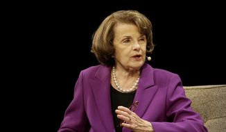 U.S. Sen. Dianne Feinstein, D-Calif., speaks at the Commonwealth Club in San Francisco, Tuesday, Aug. 29, 2017. (AP Photo/Jeff Chiu) ** FILE **