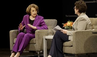U.S. Sen. Dianne Feinstein, D-Calif., left, speaks with Ellen Tauscher at the Commonwealth Club in San Francisco, Tuesday, Aug. 29, 2017. (AP Photo/Jeff Chiu)