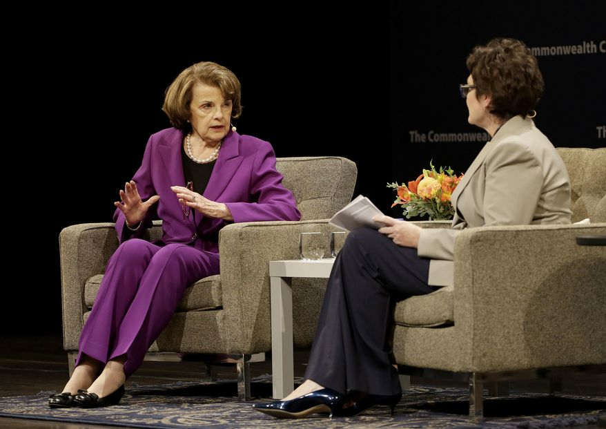 U.S. Sen. Dianne Feinstein, D-Calif., left, speaks with Ellen Tauscher at the Commonwealth Club in San Francisco, Tuesday, Aug. 29, 2017. (AP Photo/Jeff Chiu)