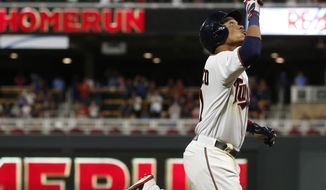 Minnesota Twins' Jorge Polanco rounds the bases on a solo home run off Chicago White Sox pitcher James Shields during the third inning of a baseball game Tuesday. Aug. 29, 2017, in Minneapolis. (AP Photo/Jim Mone)