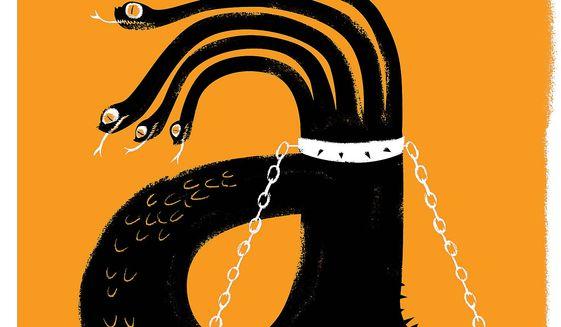 Illustration on curtailing Amazon by Linas Garsys/The Washington Times
