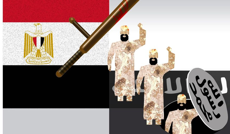 Illustration on Egypt's human rights violations and the growth of ISIS by Alexander Hunter/The Washington Times