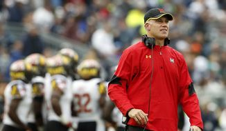 Maryland head coach DJ Durkin on the sidelines against Penn State during the second half of an NCAA college football game in State College, Pa., Saturday, Oct. 8, 2016. Penn State won the game 38-14. (AP Photo/Chris Knight)