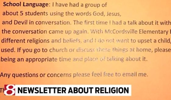 A first-grade teacher at McCordsville Elementary School in Indiana stirred controversy after sending a letter home to parents asking them to tell their children not to talk about God in the classroom. (WISH-TV)