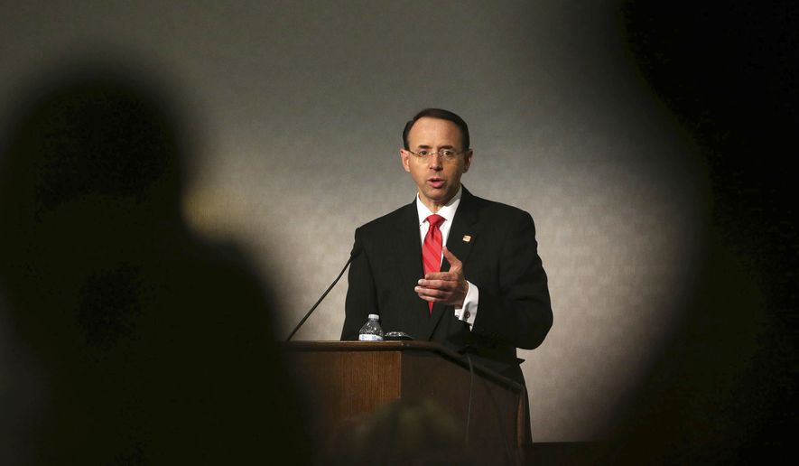 Deputy Attorney General Rod Rosenstein gives the keynote address at the 10th Annual Utah National Security and Anti-Terrorism Conference at the Sheraton in Salt Lake City, on Wednesday, Aug. 30, 2017. (Kristin Murphy/The Deseret News via AP)/The Deseret News via AP)