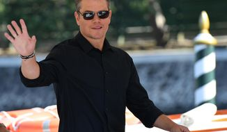 "Actor Matt Damon arrives for the 74th edition of the Venice Film Festival, at Venice Lido, Italy, Wednesday, Aug. 30, 2017. The festival opens with ""Downsizing,"" Alexander Payne's genre-defying movie starring Matt Damon. (Ettore Ferrari/ANSA via AP)"