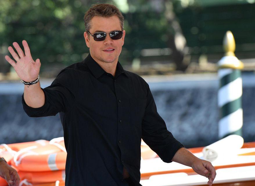 "Actor Matt Damon arrives for the 74th edition of the Venice Film Festival, at Venice Lido, Italy, Wednesday, Aug. 30, 2017. The festival opens with ""Downsizing,"" Alexander Payne's genre-defying movie starring Matt Damon. (Ettore Ferrari/ANSA via AP)"
