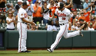 Baltimore Orioles' Trey Mancini, right, rounds the bases past third base coach Bobby Dickerson after hitting a solo home run in the second inning of a baseball game against the Seattle Mariners in Baltimore, Wednesday, Aug. 30, 2017. (AP Photo/Patrick Semansky)