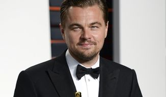 FILE - In this Feb. 28, 2016 file photo, actor Leonardo DiCaprio arrives at the Vanity Fair Fair Oscar Party in Beverly Hills, Calif. The Leonardo DiCaprio Foundation has donated $1 million to the newly established United Way Harvey Recovery Fund which will go toward relief and recovery for several years. United Way Worldwide said Wednesday, Aug. 30, 2017, that the national fund will distribute 100 percent of donations to recovery efforts for those affected by Hurricane Harvey. (Photo by Evan Agostini/Invision/AP, File)