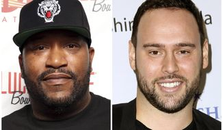 This combination photo shows Houston rapper Bun B in Miami Beach in 2013, left, and music manager Scooter Braun in Los Angeles in 2016. The pair are planning a benefit concert to help those affected by Tropical Storm Harvey. (AP Photo/File)