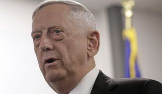 FILE - In this Aug. 10, 2017 file photo, Defense Secretary Jim Mattis speaks in Mountain View, Calif. Mattis said Wednesday, Aug. 30, 2017, the U.S. remains focused on diplomacy as well as military readiness. Amid the heightened tensions on the divided Korean Peninsula, the U.S. and South Korea have been conducting annual military drills.  (AP Photo/Jeff Chiu, File)