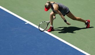Eugenie Bouchard, of Canada, reacts losing a point to Evgeniya Rodina, of Russia, during the first round of the U.S. Open tennis tournament, Wednesday, Aug. 30, 2017, in New York. (AP Photo/Adam Hunger)