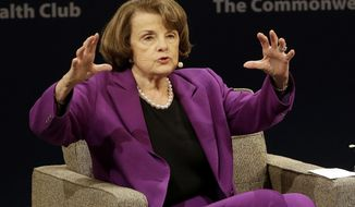 """United States Sen. Dianne Feinstein, D-Calif., gestures while speaking at the Commonwealth Club in San Francisco, Tuesday, Aug. 29, 2017. Feinstein criticized President Donald Trump's decision to pardon a controversial Arizona sheriff, Joe Arpaio, calling it """"a stupid thing to do."""" (AP Photo/Jeff Chiu)"""