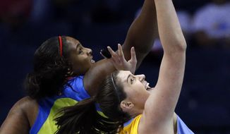 Chicago Sky forward/center Stefanie Dolson, right, and Dallas Wings center Courtney Paris vie for a rebound during the first half of a WNBA basketball game Wednesday, Aug. 30, 2017, in Rosemont, Ill. (AP Photo/Nam Y. Huh)