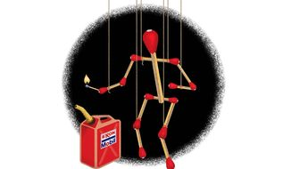 The Concerted Effort to Burn Exxon Mobil Illustration by Greg Groesch/The Washington Times