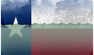 Illustration on the hurricane damage to Texas by Alexander Hunter/The Washington Times
