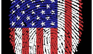 Illustration on American national identity by Alexander Hunter/The Washington Times