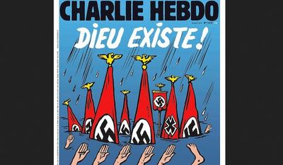 The latest issue of Charlie Hebdo, the French satirical newspaper that was attacked by terrorist in 2015, depicts Hurricane Harvey flood victims in Texas as Nazis. (Image: Charlie Hebdo)