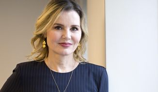 "In this Aug. 18, 2017 photo, actress Geena Davis poses for a photo in New York. Davis starred with Susan Sarandon in the 1991 film, ""Thelma & Louise.""  (AP Photo/Mark Lennihan)"