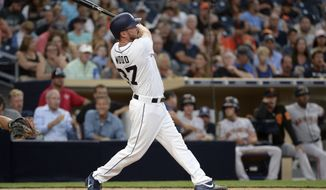 San Diego Padres' Travis Wood watches his home run during the third inning of a baseball game against the San Francisco Giants on Wednesday, Aug. 30, 2017, in San Diego. (AP Photo/Orlando Ramirez)
