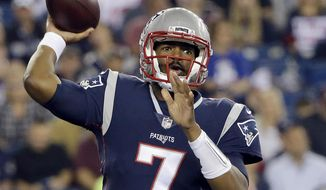 New England Patriots quarterback Jacoby Brissett passes against the New York Giants during the first half of an NFL preseason football game, Thursday, Aug. 31, 2017, in Foxborough, Mass. (AP Photo/Steven Senne)