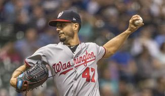 Washington Nationals' Gio Gonzalez pitches to a Milwaukee Brewers batter during the first inning of a baseball game Thursday, Aug. 31, 2017, in Milwaukee. (AP Photo/Tom Lynn)