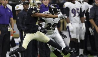 Baltimore Ravens defensive back Marlon Humphrey (29) defends New Orleans Saints wide receiver Corey Fuller (11), during the second half of an NFL preseason football game, Thursday, Aug. 31, 2017, in New Orleans. (AP Photo/Rusty Constanza)