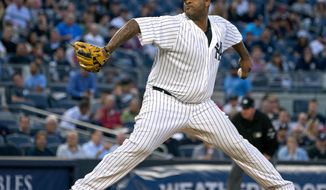 New York Yankees pitcher C. C. Sabathia works against the Boston Red Sox during the first inning of a baseball game Thursday, Aug. 31, 2017, in New York. (AP Photo/Craig Ruttle)